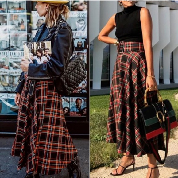 Zara Dresses & Skirts - Zara belted tartan midi plaid skirt NWT Christmas
